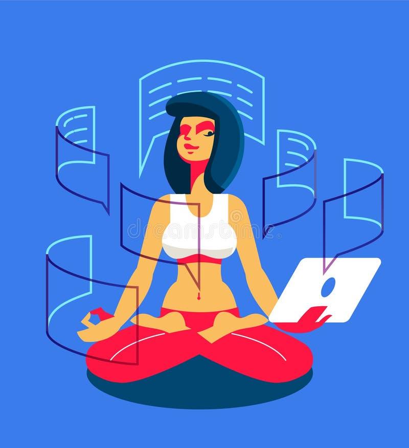 Dziewczyna z pastylką angażuje w joga ilustracja wektor