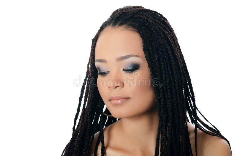 Dziewczyna z pięknym makijażem mulat zdjęcia royalty free