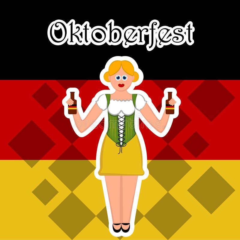 Dziewczyna z piwnymi butelkami na flaga Niemcy ilustracji