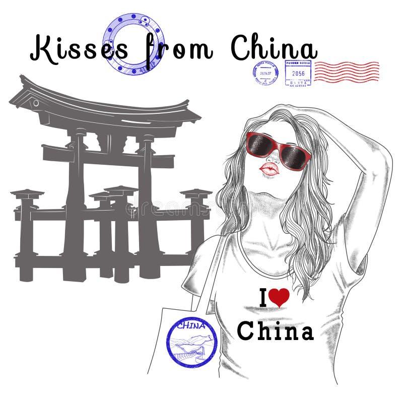 Dziewczyna z pomnikowymi tła i poczta znaczkami - porcelana royalty ilustracja