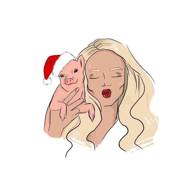 Dziewczyna z prosiaczkiem Nowy rok 2019 royalty ilustracja