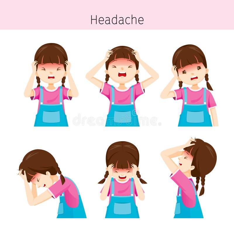 Dziewczyna Z Różnymi migren akcjami royalty ilustracja
