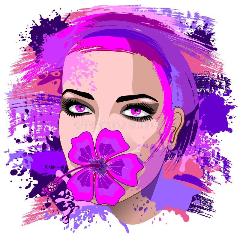 Dziewczyna z Różowym poślubnikiem na wargach ilustracja wektor