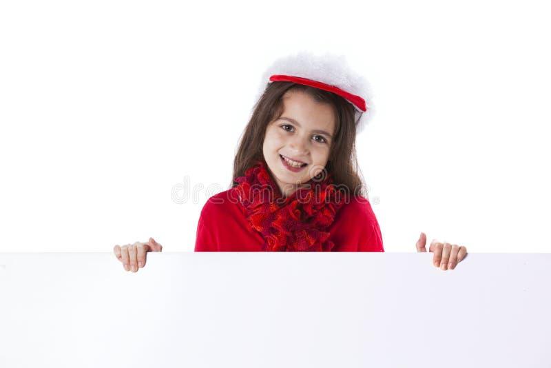 Dziewczyna z Santa Claus kapeluszem obraz stock