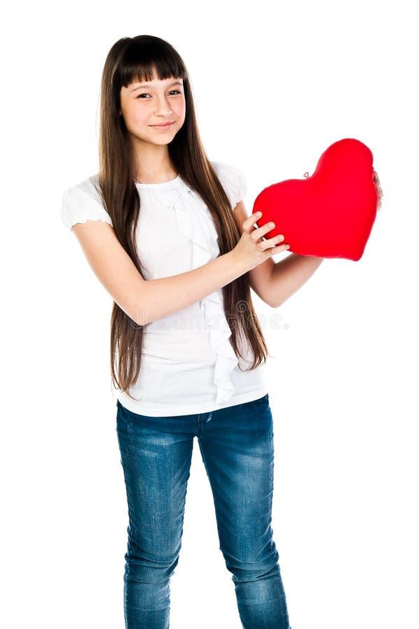 Download Dziewczyna z sercem obraz stock. Obraz złożonej z twarz - 28966943