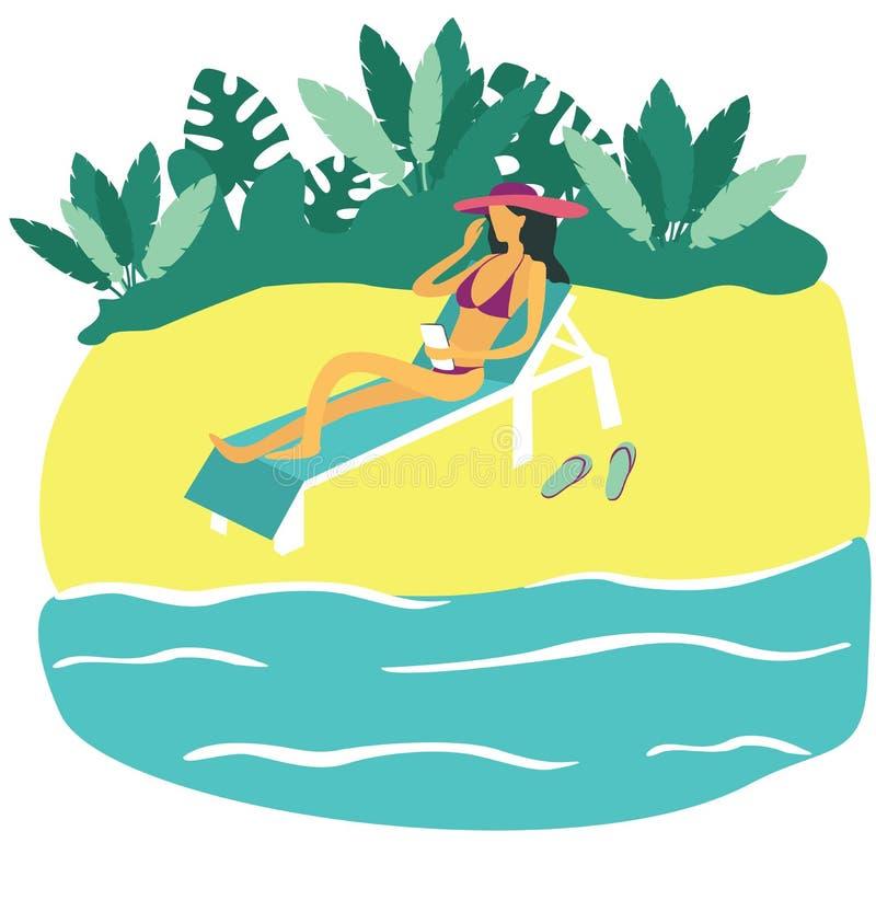 Dziewczyna z smartphone obsiadaniem w pokładu krześle na plaży Płaski projekt wakacje, podróż, natura, turystyka Wektorowy illust royalty ilustracja