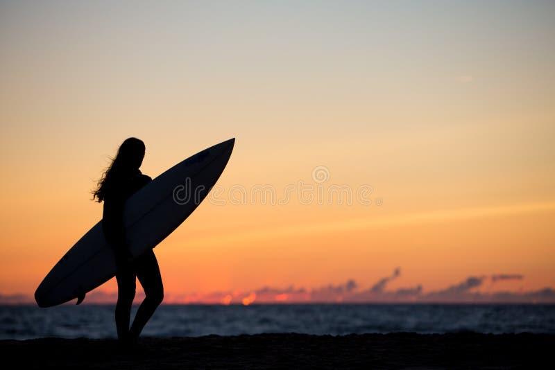 dziewczyna z surfboard w zmierzchu przy plażą obrazy royalty free