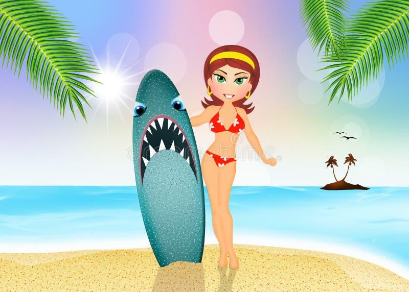 Dziewczyna z surfingiem z rekinu projektem ilustracja wektor