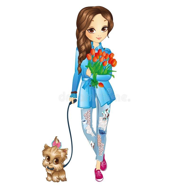 Dziewczyna Z szczeniakiem I kwiatami ilustracji