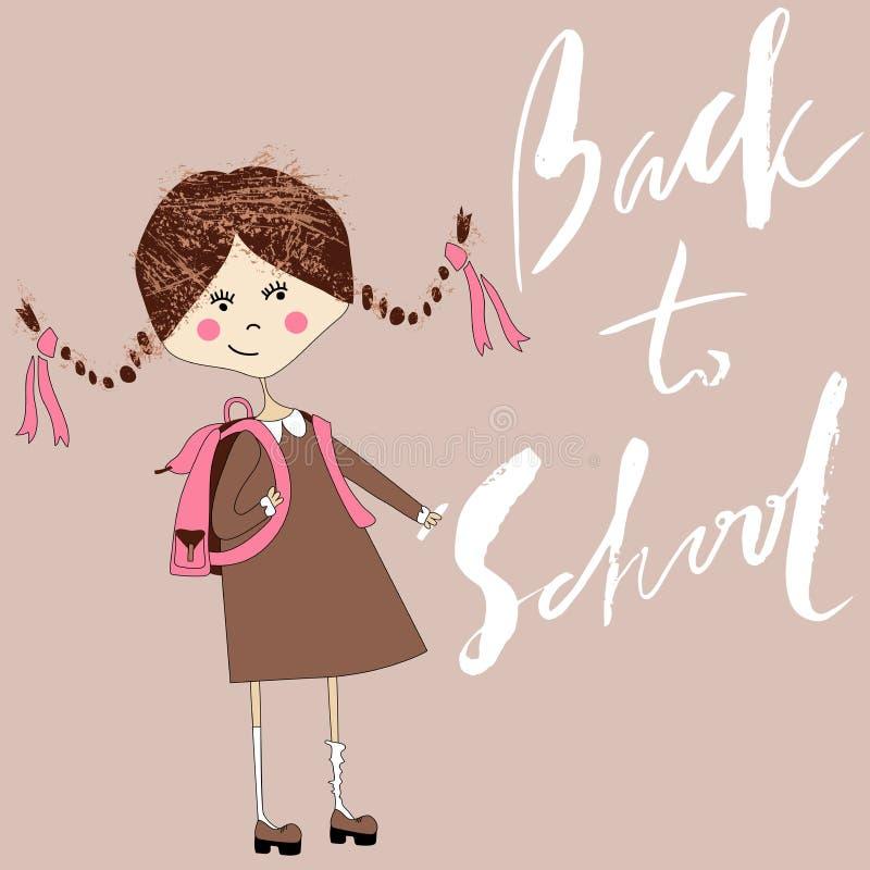 Dziewczyna z szkolną torbą pisze z kredą na chalkboard Handdrawn inspiracja tylna szkoły royalty ilustracja
