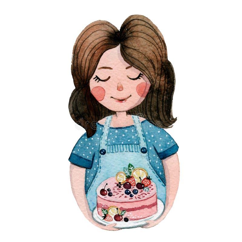 Dziewczyna z tortem, akwarela ilustracji