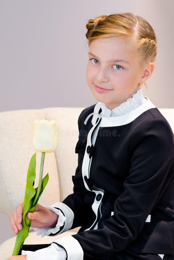 Dziewczyna z tulipanem obrazy stock