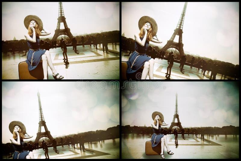 Dziewczyna z walizki i paryżanina wieżą eifla fotografia royalty free
