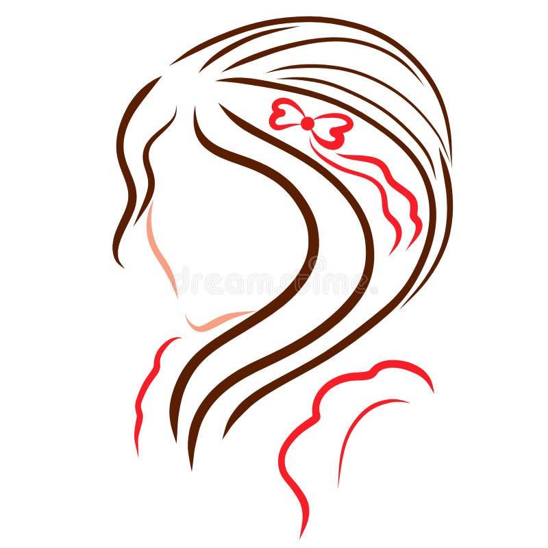 Dziewczyna z wspaniałym włosy i hairpin z sercami ilustracja wektor