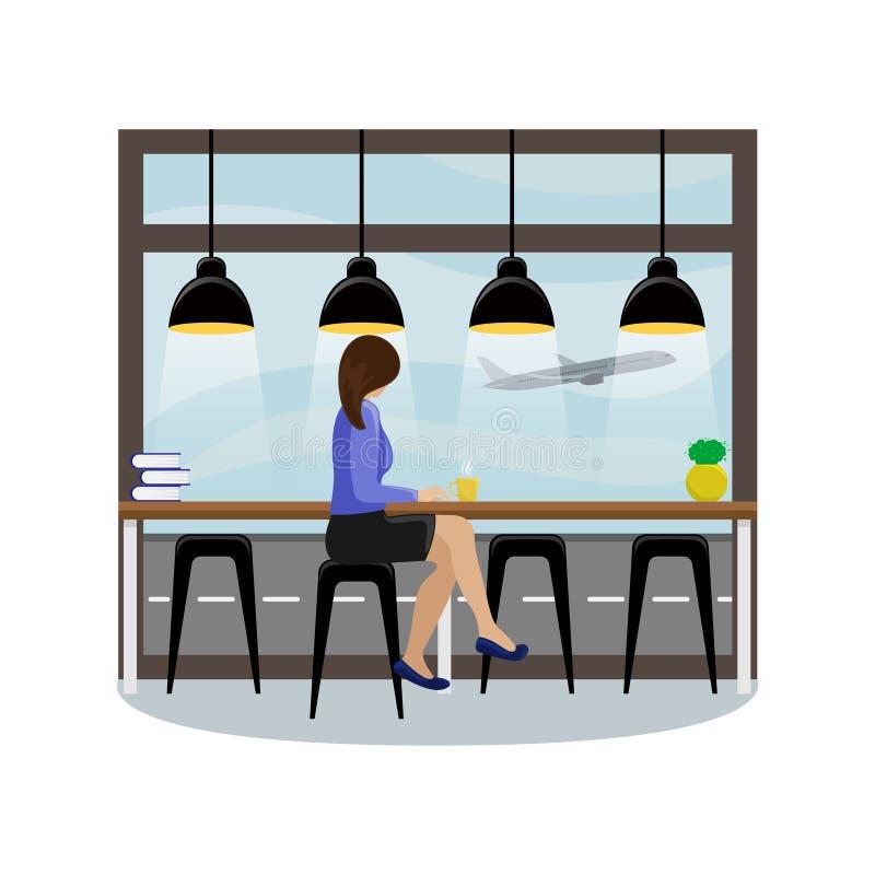 Dziewczyna za prętowym kontuarem przy panoramicznym okno przy lotniskiem ilustracji