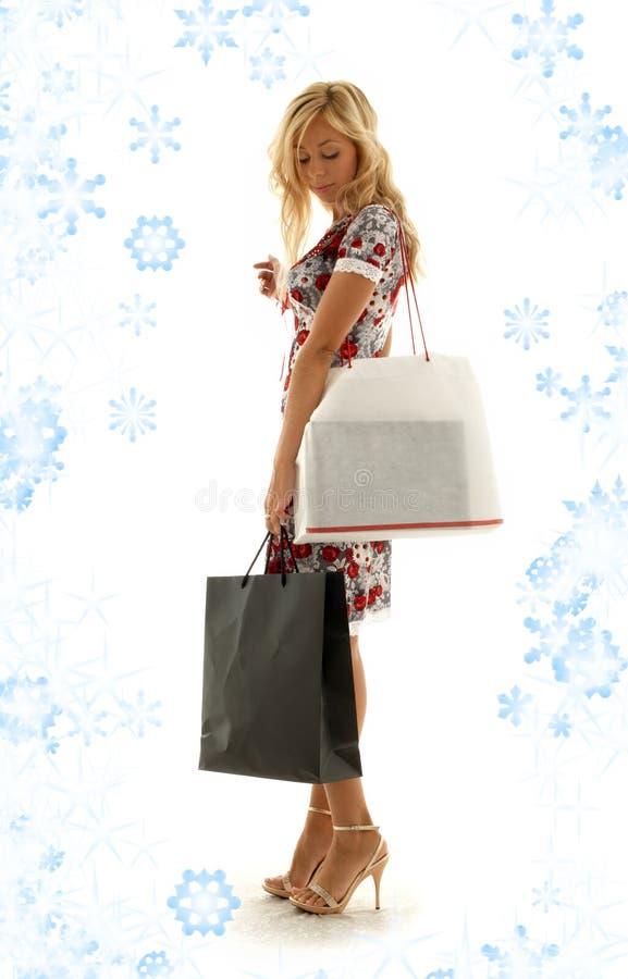 dziewczyna 2 zakupy Śniegu fotografia stock