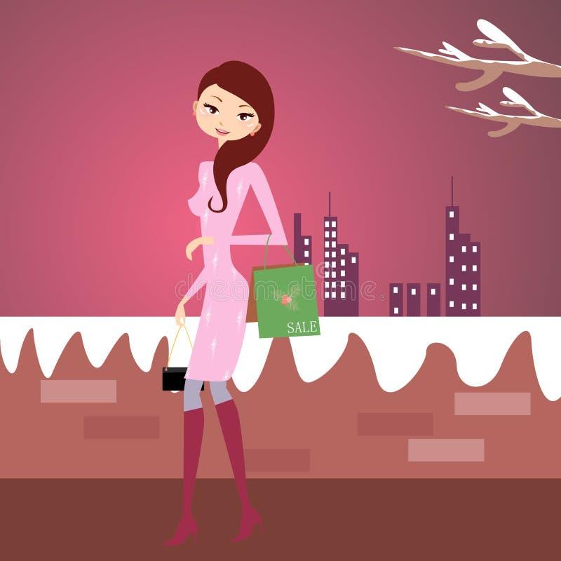 dziewczyna zakupy royalty ilustracja