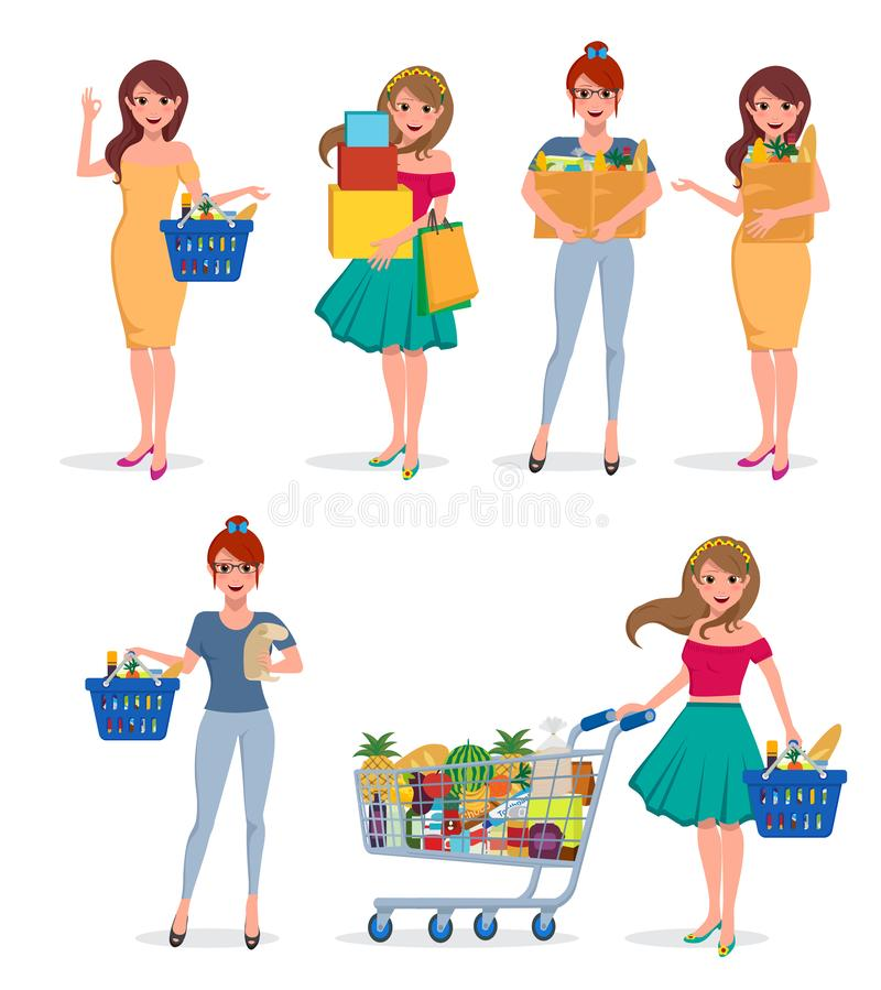 Dziewczyna zakupy wektorowy charakter - set Kobieta kupującego mienia szczęśliwe torby na zakupy ilustracji