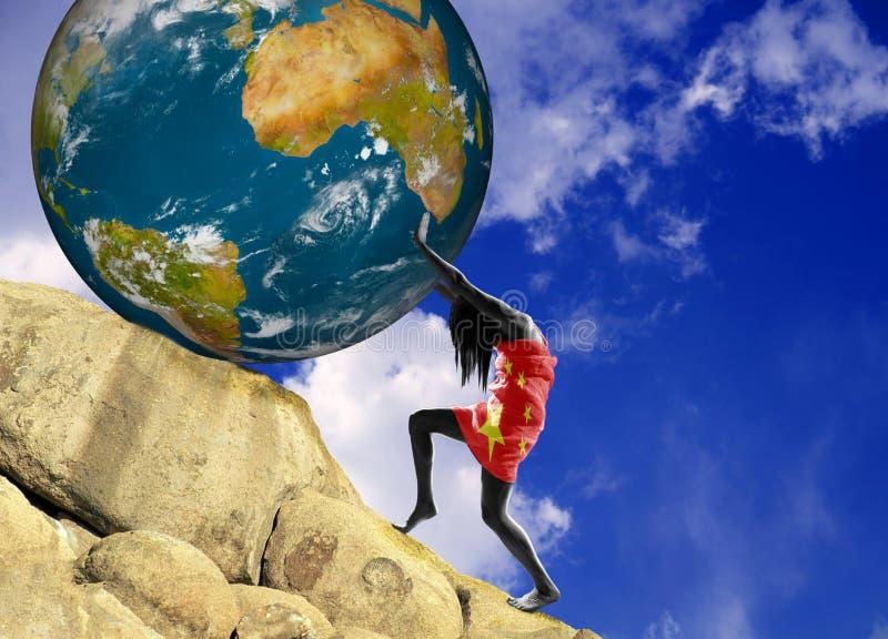 Dziewczyna, zawijająca w fladze Chiny, podnosi bitcoin monetę w górę wzgórza ilustracja wektor