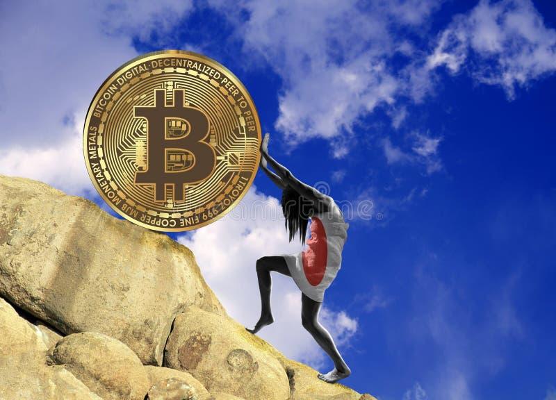 Dziewczyna, zawijająca w fladze Japonia, podnosi bitcoin monetę w górę wzgórza ilustracja wektor