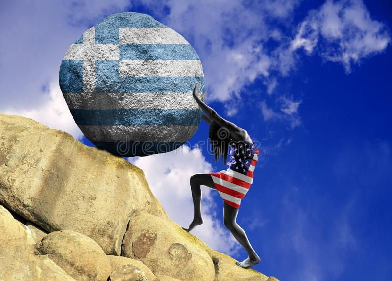 Dziewczyna, zawijająca w fladze Stany Zjednoczone Ameryka, podnosi kamień wierzchołek w postaci sylwetki flaga royalty ilustracja