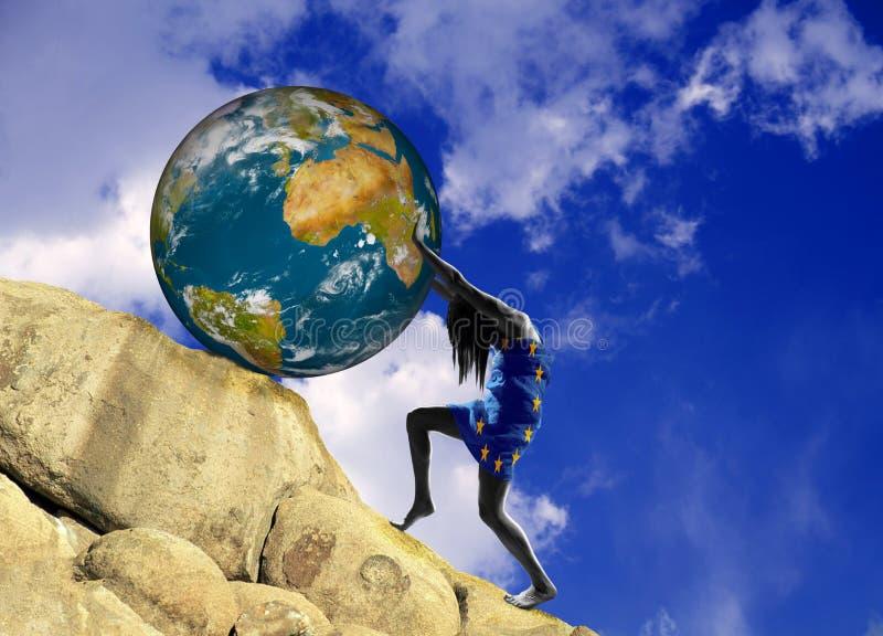 Dziewczyna, zawijająca w fladze unia europejska, podnosi planety ziemię ciężką royalty ilustracja