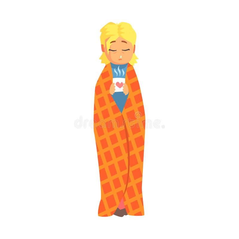 Dziewczyna Zawijająca W koc Z Gorącym napojem Ma zimno, Dorosły osoby Czuć Cierpiący, Chory, Cierpiący Od choroby royalty ilustracja