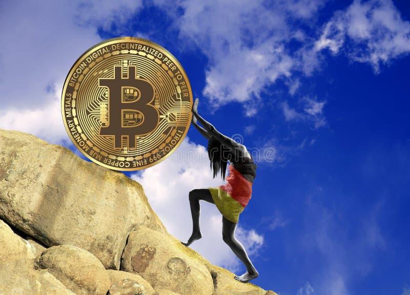 Dziewczyna zawijająca w niemiec flaga podnosi bitcoin monetę w górę wzgórza ilustracja wektor