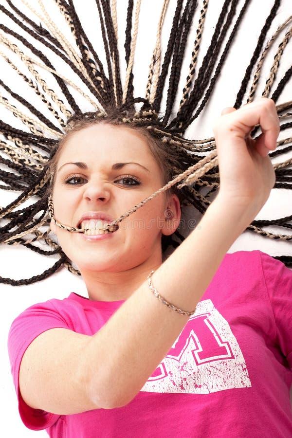 dziewczyna zjadliwy włosy dosyć jej menchie obraz stock