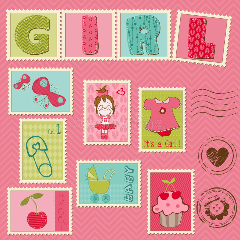 Dziewczynek Znaczek Pocztowy ilustracji