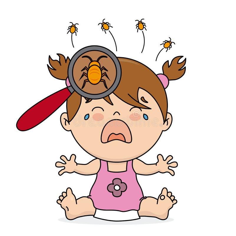 Dziewczynka płacz ponieważ wszy ilustracja wektor