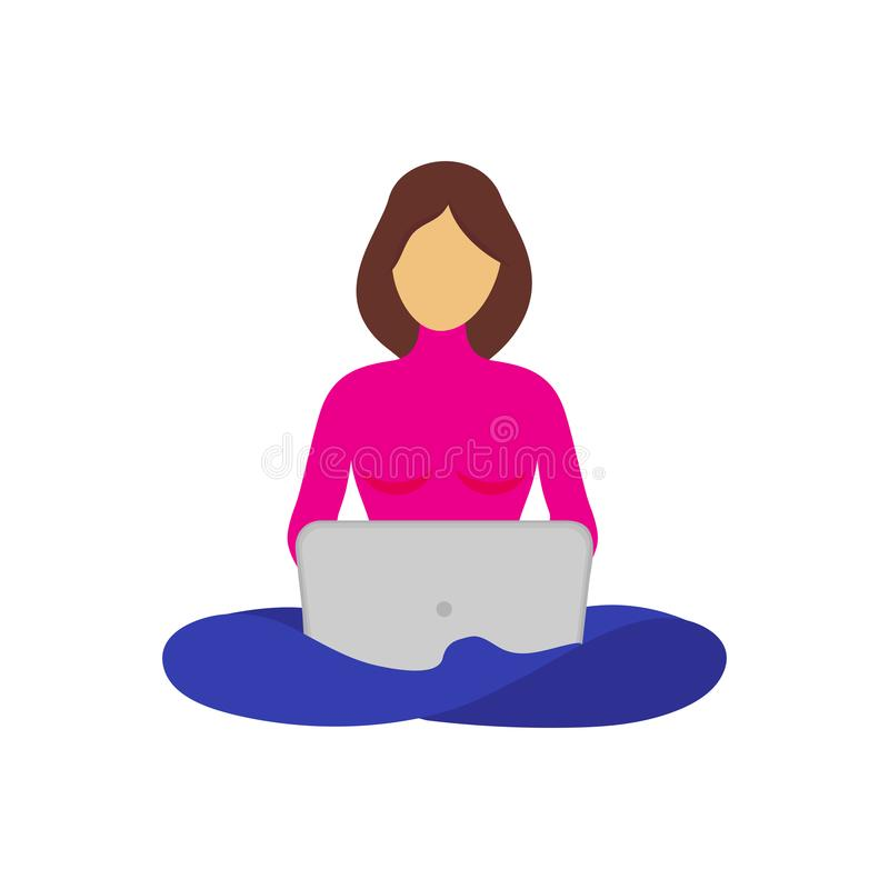 dziewczynka siedząca na nogach i pracująca na laptopie ilustracji