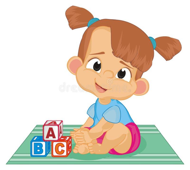 Dziewczynka siedzi i bawić się ilustracja wektor