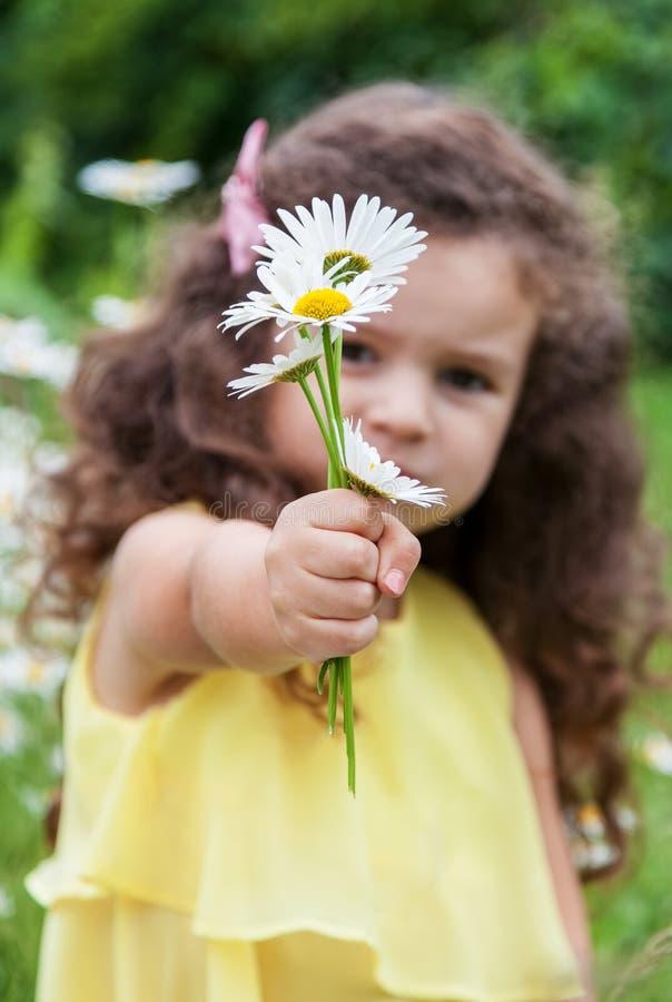 Dziewczynka trzyma out bukiet chamomiles obrazy royalty free