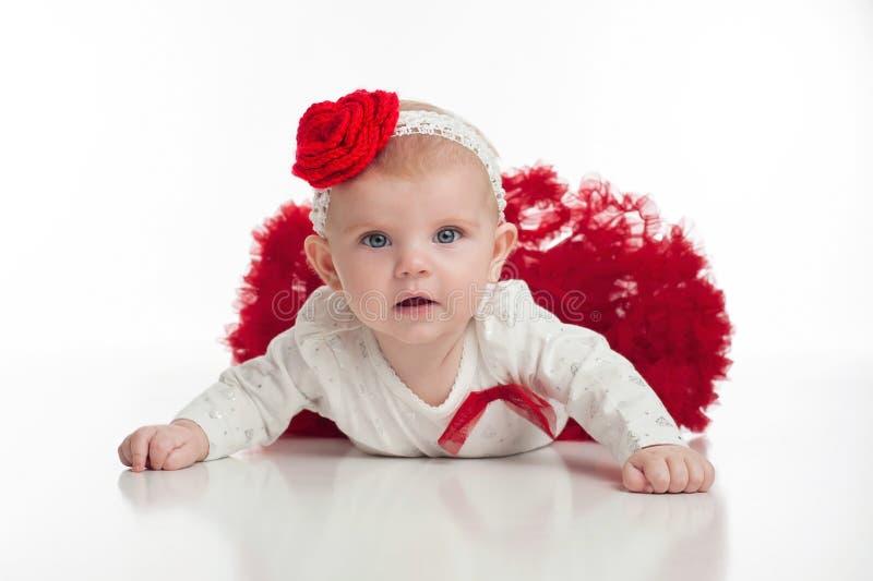 Dziewczynka w Czerwonej spódniczce baletnicy zdjęcie stock