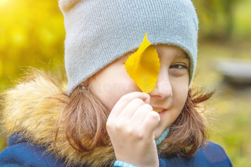 Dziewczynka z jesień liśćmi obraz royalty free