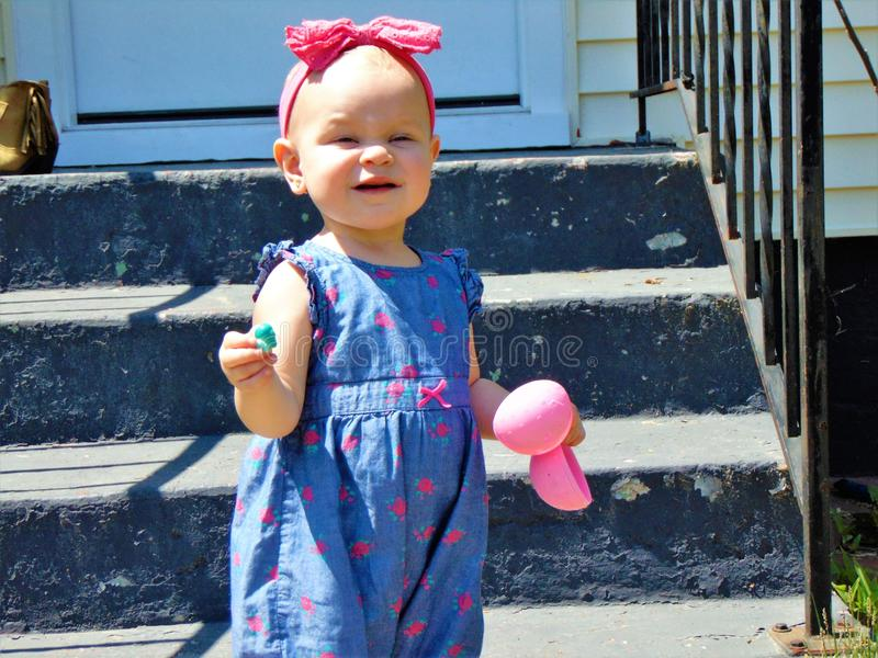 Dziewczynka z Różową kapitałką obraz stock