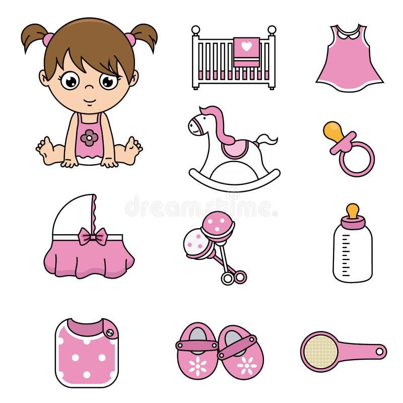 Dziewczynki i dziecka ikony ilustracja wektor