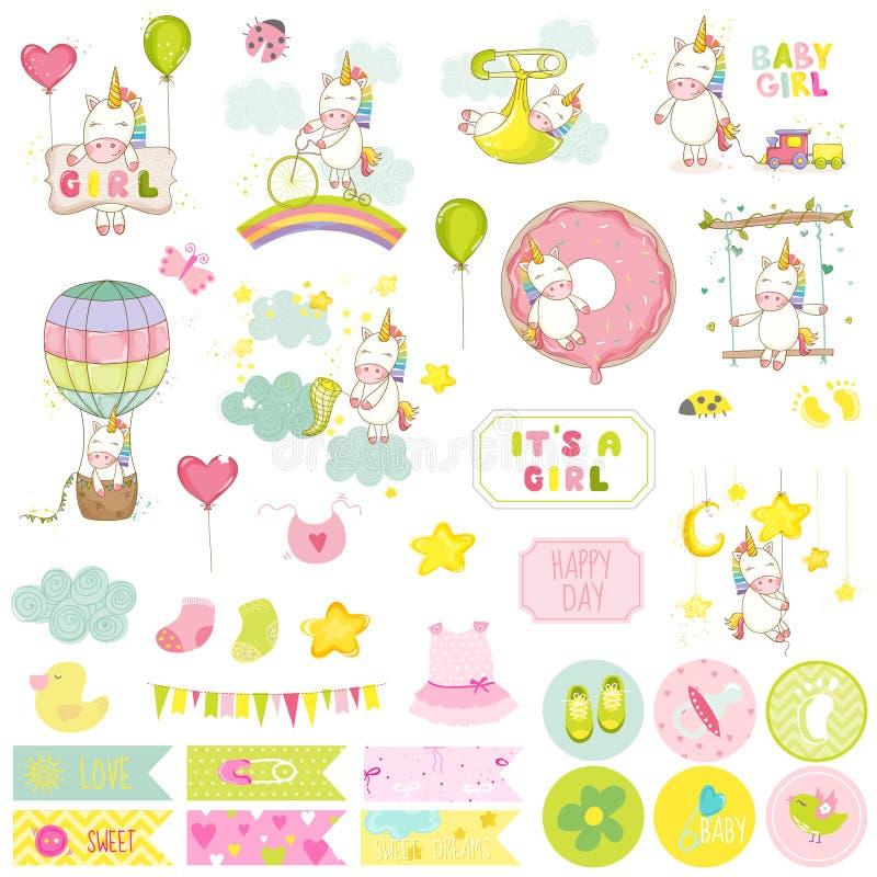 Dziewczynki jednorożec Scrapbook set dekoracyjni elementów ilustracja wektor
