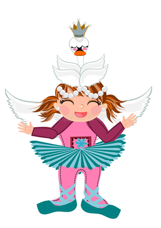 Dziewczynki kostiumowa śliczna kreskówka royalty ilustracja