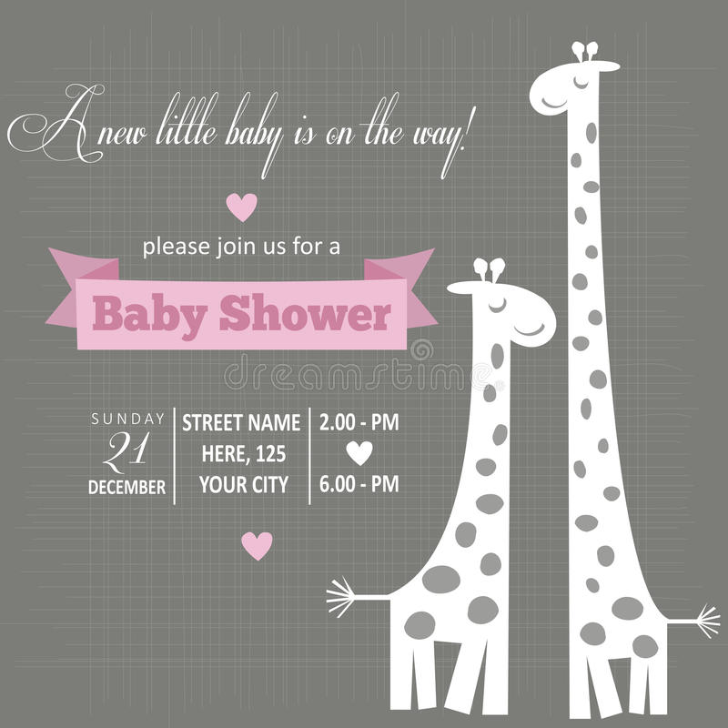Dziewczynki zaproszenie dla dziecko prysznic ilustracja wektor