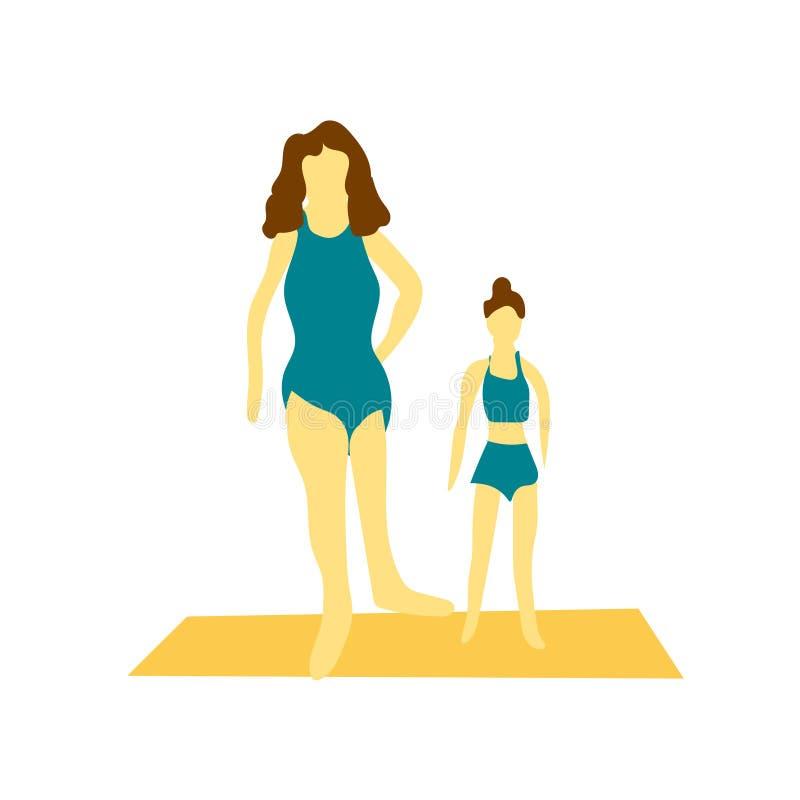 Dziewczyny ćwiczy wektorowego wektoru znaka, symbol odizolowywających na białym tle i, dziewczyny ćwiczy wektorowego logo pojęcie ilustracji