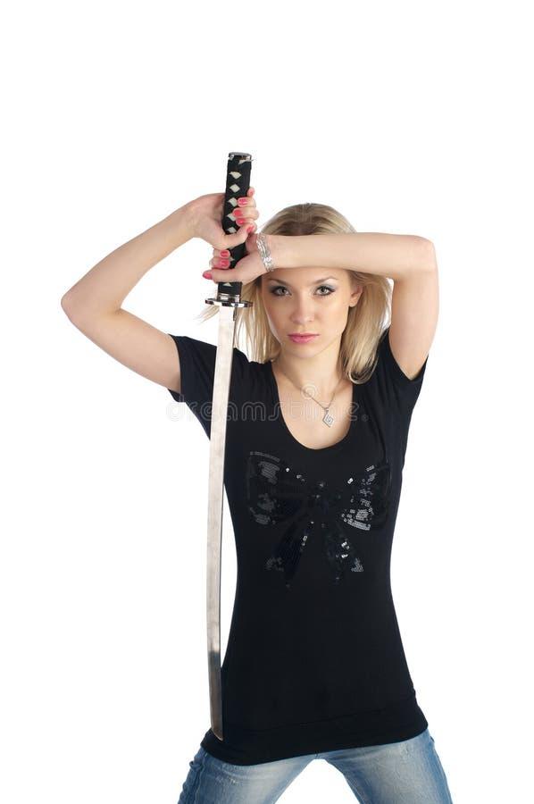 dziewczyny śliczny katana zdjęcie royalty free