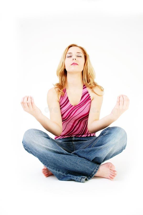 dziewczyny 2 poza medytacji obrazy stock