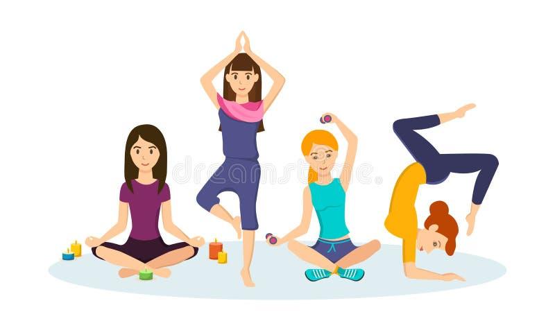 Dziewczyny angażowali w sportach i joga bierze różne pozycje, ilustracja wektor