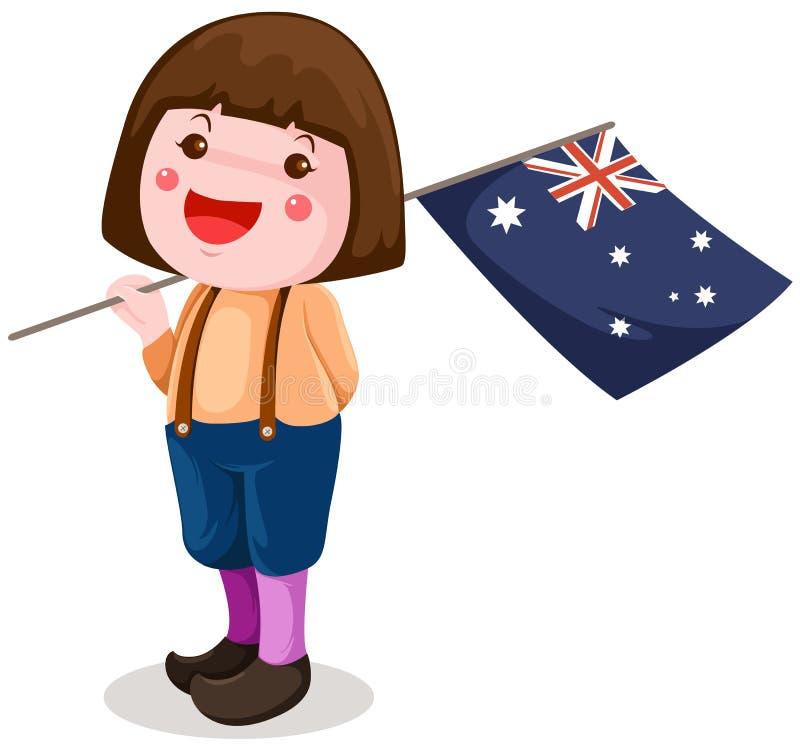 dziewczyny australijski śliczny chorągwiany mienie ilustracja wektor