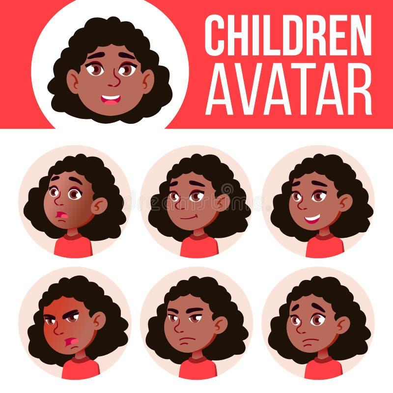 Dziewczyny Avatar dzieciaka Ustalony wektor czerń Afro amerykanin chłopiec uczy się że czytałam głównego nauczyciela Stawia czoło ilustracji