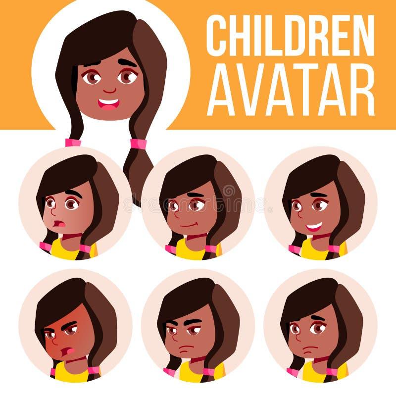 Dziewczyny Avatar dzieciaka Ustalony wektor czerń Afro amerykanin dzieciniec Stawia czoło Emocje Preschool, dziecko, wyrażenie Na royalty ilustracja