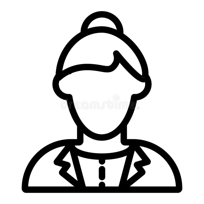 Dziewczyny avatar w kurtki linii ikonie Dziewczyna z babeczki wektorową ilustracją odizolowywającą na bielu Żeński pracownika kon royalty ilustracja