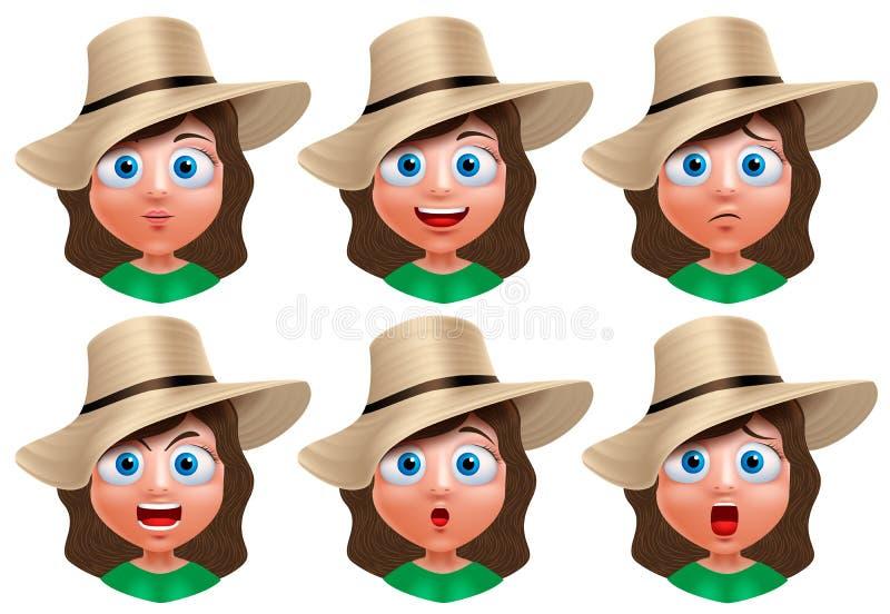 Dziewczyny avatar wektoru charakter Set portret młodej dziewczyny twarz ilustracji